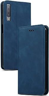 جراب EUDTH لهاتف Galaxy A7 (2018)، جراب جلدي أصلي من الجلد لهاتف Samsung Galaxy A7 (2018) - أزرق