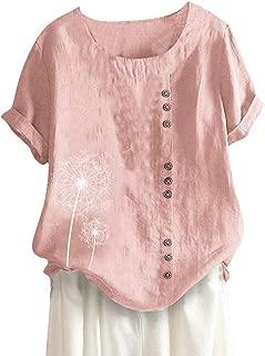 Londony❀♪ Women's Short Sleeve Cotton Linen Jacquard Blouses Top T-Shirt Linen Retro Chinese Frog Button Tops Blouse Pink