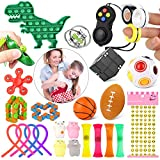 GOTIDA Sensory Fidget Toys Set 27 Pack Simple Dimple Fidget Toy for Kids Adults DNA Stress Balls Infinity Cube Stress Relief Anxiety Relief Items Autism Toys ADHD Therapy Dinosaur Toys