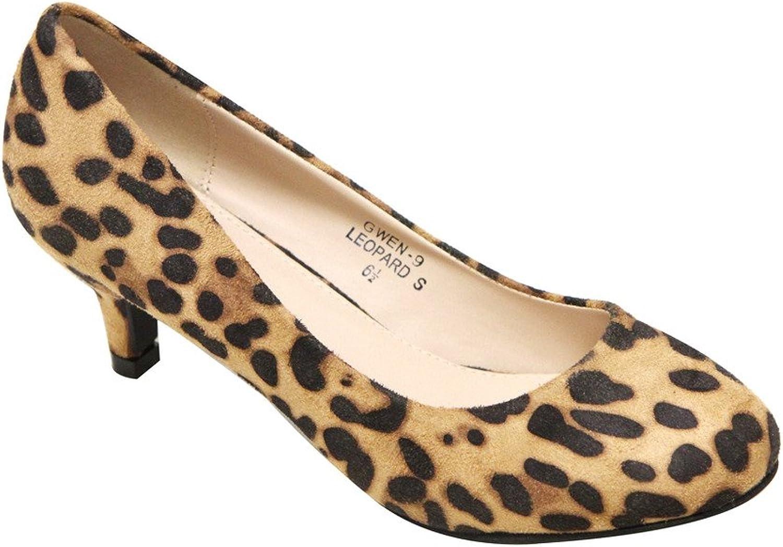 Bella Marie Gwen-9 Women's Round Toe Kitten Heel Suede Pumps shoes