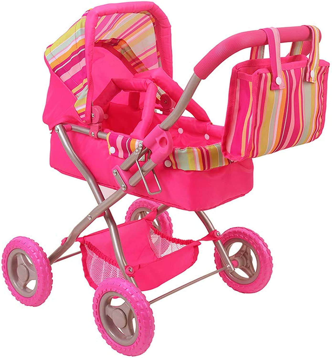 CUBY Doll Jogging Stroller, My First Baby Toy Stroller, Doll Deluxe Pram Lightweight with Removable Carrycot and Diaper Bag, Birthday Gift for Kids