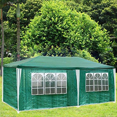 Hengda - Carpa para jardín, 3 x 6 m, impermeable, paredes laterales, XXL, color verde