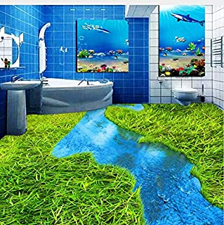 Lifme Custom Floor Mural Wallpaper Meadow River Toilets Bathroom Bedroom 3D PVC Floor Sticker Painting Waterproof Thickened Wallpaper-200X140Cm