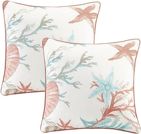 Madison Park Pebble Beach Cotton Printed Cotton Throw Pillow Coastal Square Decorative Pillow 20X20 Set Of 2 Coral