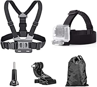 TEKCAM Action Camera Head Strap Chest Harness Belt Mount with Carrying Pouch Compatible with Gopro Hero 7 6 5/AKASO EK7000...
