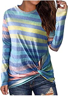 TIFENNY Women's Casual Long Sleeve Plaid Striped Cape Style Hem Loose Tops New Winter Pullover Sweatshirt Shirts Blouse
