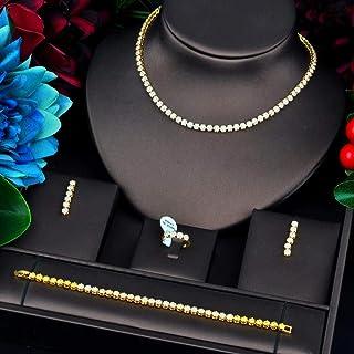 جديد شكل زهرة الذهب اللون مايكرو مكعب الزركون باف مجموعات مجوهرات للنساء الزفاف اكسسوارات Makfacp (اللون: ذهبي اللون)