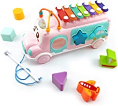 MoraBaby School Bus Toy with Xylophone, Shape Sorter, Bead Maze for Toddlers 1 2 3 Year Old Boy and Girl Gifts, Push & Pull Toys, Preschool Educational Toys (Pink)