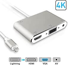 HDMI VGA AV Adapter Converter, ACETEND 2019 Latest 4 in 1 Plug and Play Digtal AV Adapter Compatible for iPhone X / 8 / 8Plus/7/7Plus/6/6s/6s Plus/5/5s iPad iPod to Projector HDTV Projector Monitor