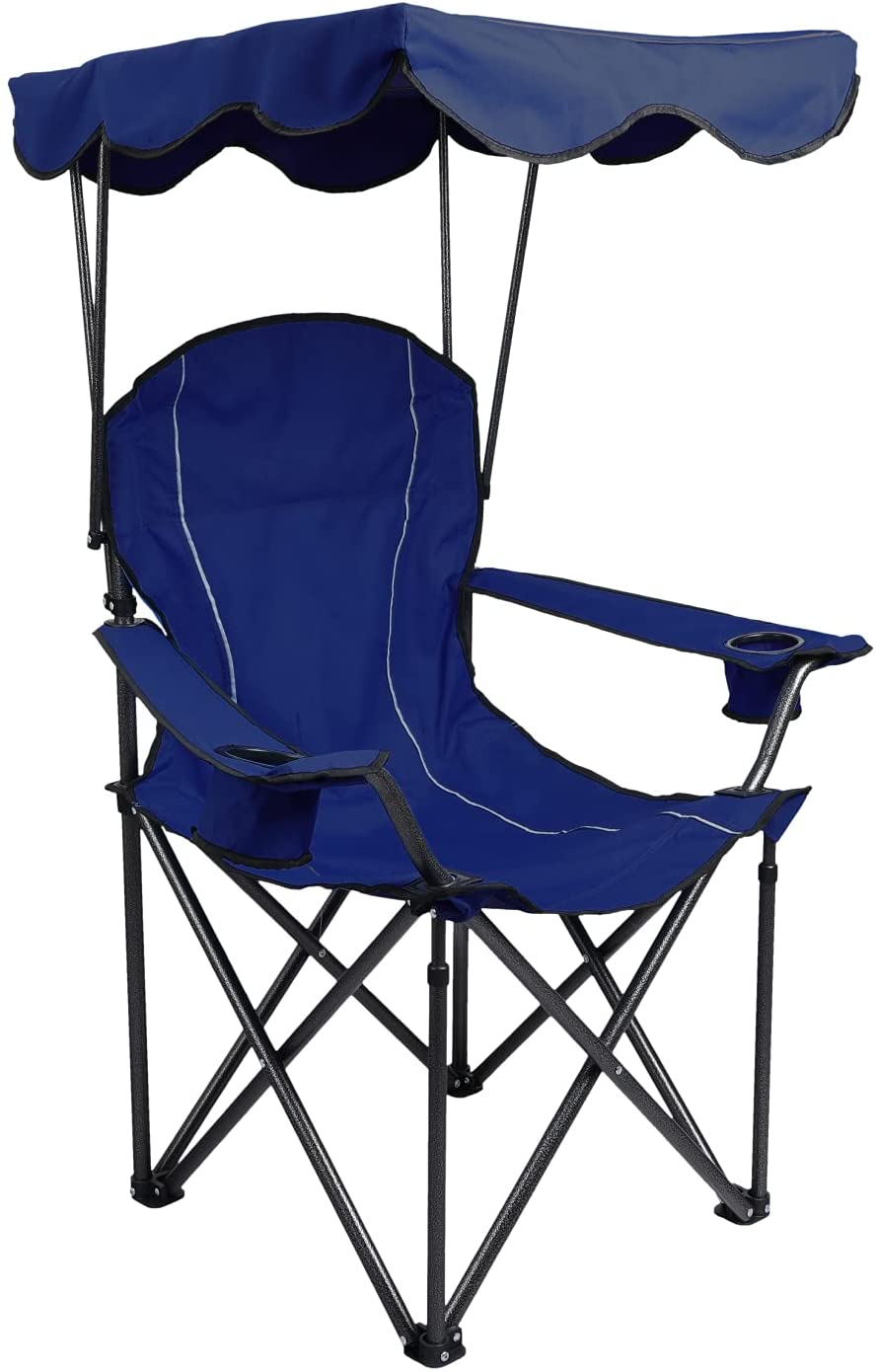 ALPHA CAMP Camp Chair Max 45% OFF with Folding Shade Recliner Canopy Camping 4 years warranty