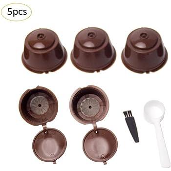 5 Piezas Cápsulas Filtros de Café con Cuchara y Cepillo Filtros de Café Recargable Reutilizable Filtro de Cápsula de Café para Dolce Gusto: Amazon.es: Bricolaje y herramientas