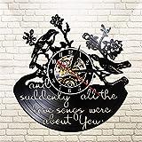 LBJZD Reloj de Pared Único Y De Repente Todas Las Canciones De Amor Eran Todo sobre Ti Decoración De Pájaros Reloj De Vinilo De Pájaros Florales Regalo para Regalo De Pared De La Casa Sin Luz Led