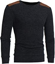 Sunhusing Men's Casual Round Neck Knit Sweater Top Fashion Autumn Patchwork Knitwear Pullover Shirt