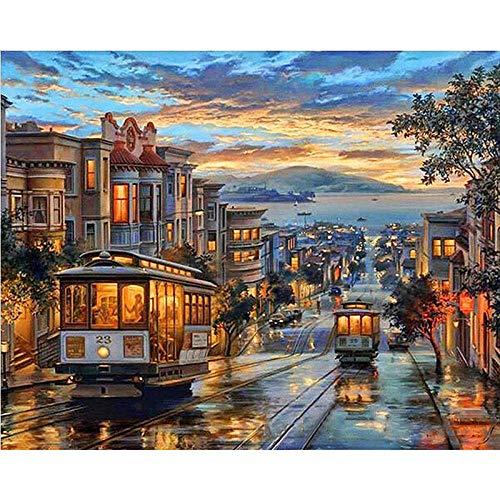 City Night Bus DIY Digitale Schilderij Landschap Canvas Olieverfschilderij Digitale Kleurplaten Muur Kunst Beeld Home Decoratie Art -40x50cm-Omlijst