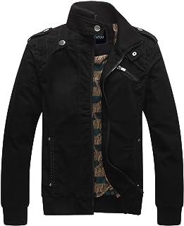 chouyatou Men`s Casual Long Sleeve Full Zip Jacket with Shoulder Straps