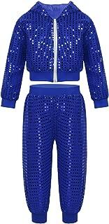 Kids Boys Girls Sequins Hip-hop Jazz Latin Street Dance Costume Jacket with Pants 2pcs Set