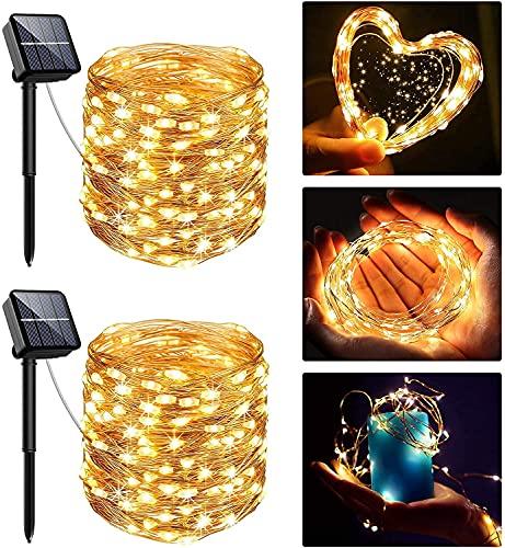 [2 Stück] Solar Lichterkette Aussen, 13.5M 120 LED Lichterkette Aussen, Lichtsteuerung Design 8 Modus Wasserdicht Kupferdraht Weihnachtsbeleuchtung außen DIY für Balkon, Gartendeko, Bäume, Hochzeiten