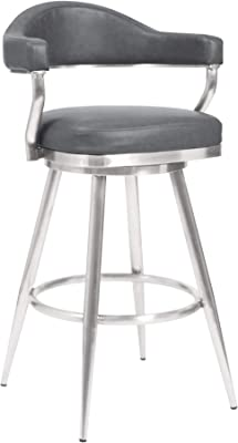 Amazon Com Armen Living Prinz 26 Counter Height Swivel Barstool In Grey Faux Leather And Brushed Stainless Steel Finish Furniture Decor