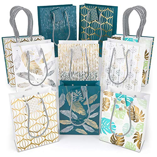 ARTEZA Gift Bags, 9.5 x 7 x 3.4 Inches, Set of 16 with an Assortment of 5 Unique Metallic Foil Designs on 10 White Paper Bags and 6 Blue Paper Bags, 2 of Each Style