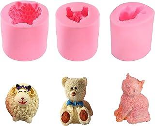 Lot de 3 moules en silicone pour fabrication de savons, bougies, savons, bonbons, chocolats, décoration de gâteaux, pâte à...