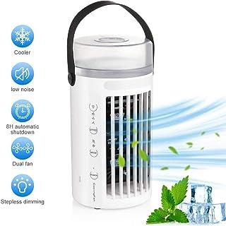 Mini ventilador portátil de aire acondicionado, 4 en 1, silencioso, humidificador, purificador de aire, 3 velocidades con LED, para el hogar, la oficina o tiendas de campaña (ventilador de turbo)