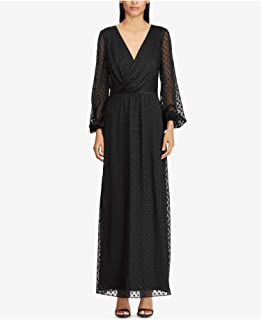 Womens Black Jacquard Knit Surplice Long Sleeve V Neck Maxi (8, Black)