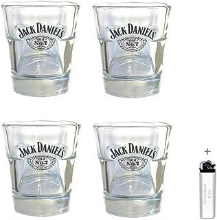 "Jack Daniel""s h2i 4 Stück < Original Whisky Becher Glas Tumbler 2cl / 4cl > > neues Model < <"