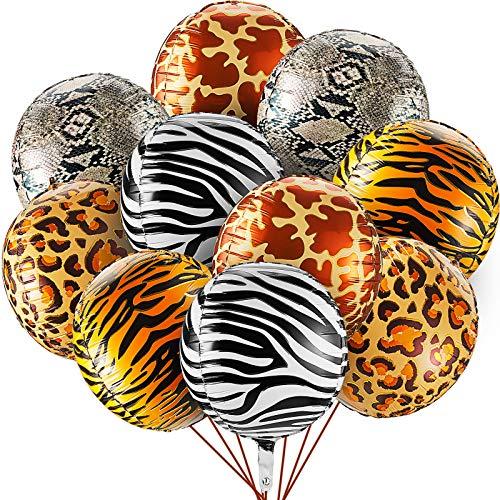 10 Globos Grandes de Aluminio con Estampado Animal de Selva de 22 Pulgadas Globos Mylar de Salvaje 4D Globo de Aluminio Redondo de Guepardo a Rayas de Cebra para Baby Shower Cumpleaños de Selva