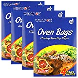 WRAPOK Oven Cooking Turkey Bags Large Size Ribs Baking Roasting Bags No Mess For Chicken Meat Ham Poultry Fish Seafood Vegetable - 16 Bags (17 x 21.5 Inch)