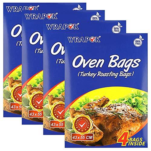 WRAPOK - Bolsas de cocina de tamaño grande, sin BPA, kit de asado de pavo, resistentes al calor, para pollo, carne, jamón, mariscos, verduras, 16 bolsas