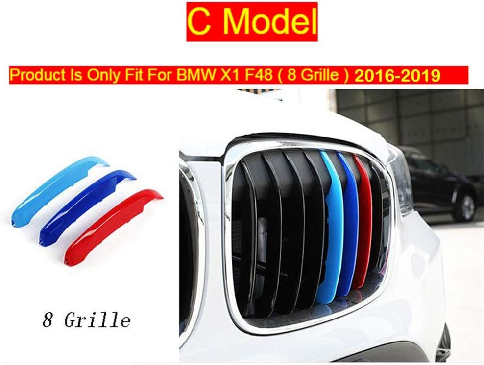 For B-MW X1 E84 F48 Kidney Grills Insert Accessories-M-Color Front Grille Stripe Decals,Car Styling Accessories Head Front Grille For M Sport Stripes Grill Covers Cap Decoration Frame Auto Stickers