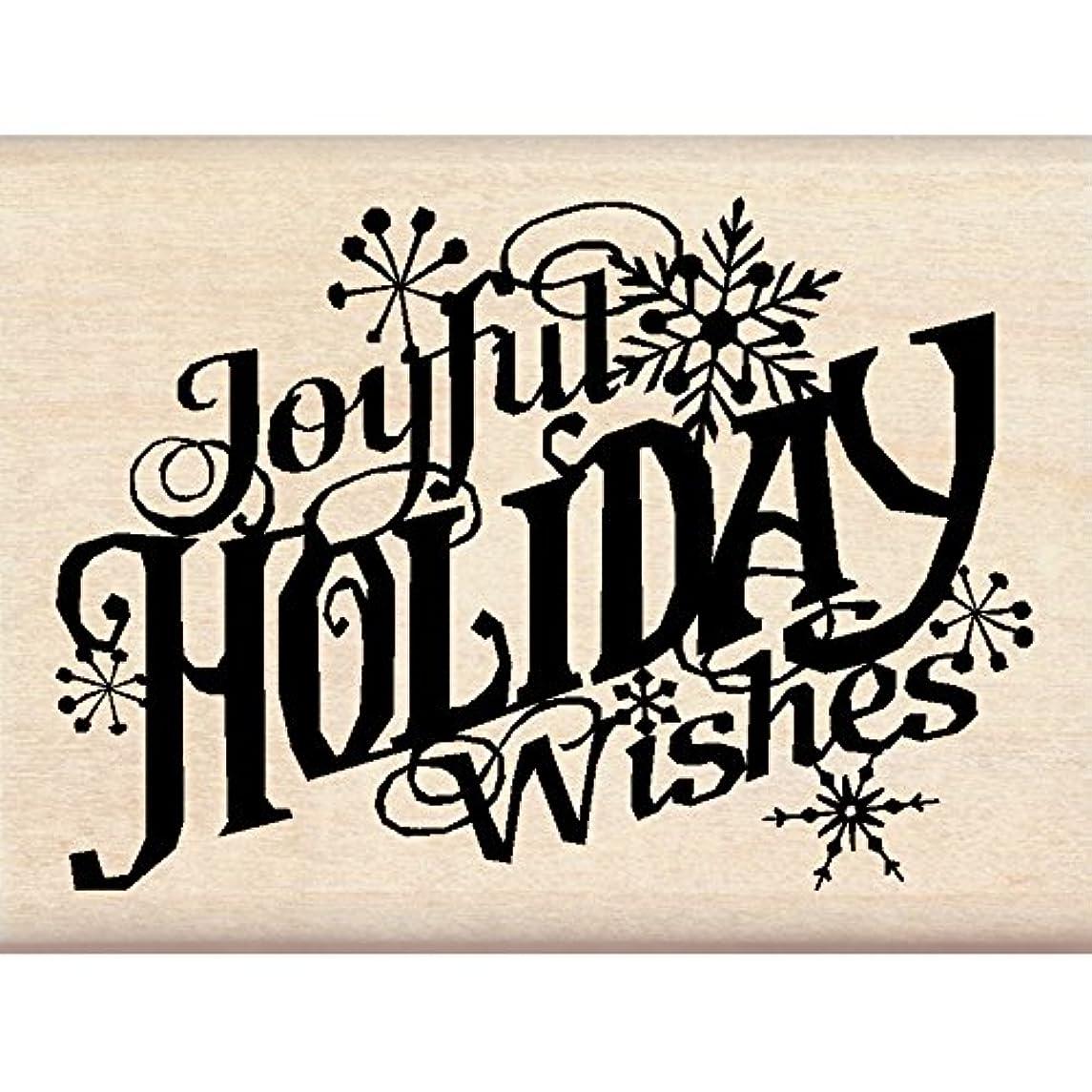 Inkadinkado Christmas Mounted Rubber Stamp, 3 by 2.25-Inch, Joyful Holiday Wishes