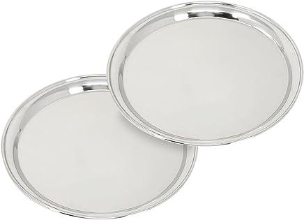 Preisvergleich für com-four® 2X Serviertablett aus rostfreiem Edelstahl, rundes Tablett zum Servieren von Speisen und Getränken, Ø 30,5 cm (02 Stück - 30.5 cm)