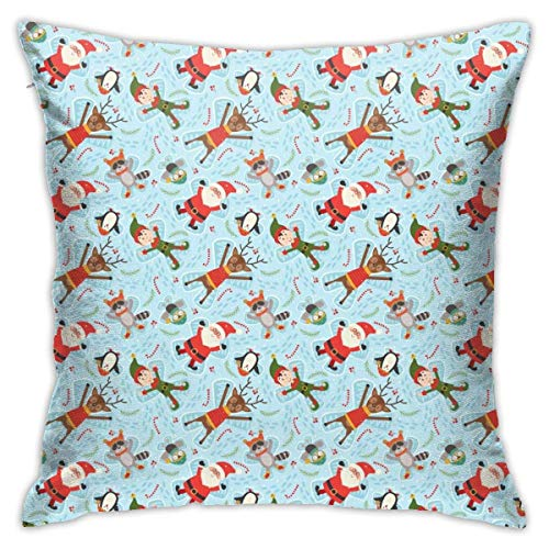 Throw Pillow Cover Cushion Cover Pillow Cases Decorative Linen Santa And Raccoon for Home Bed Decor Pillowcase,45x45CM