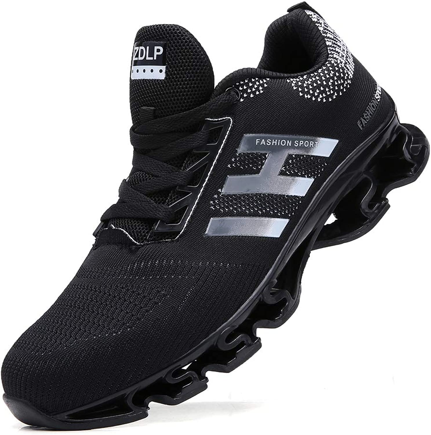 SKDOIUL Jogging shoes for Mens mesh Breathable Slip on Youth Boys Running shoes Casual Walking shoes Black Size 8.5 (656-black-42)