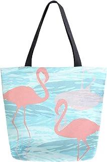 Mnsruu Mnsruu Handtasche/Schultertasche aus Segeltuch, für Damen, mit Griff, Einkaufstasche, Pink Flamingo, lässig, Strand, Multifunktionstasche für Damen