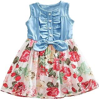 Niyage Girls Princess Dress Denim Tops Floral Tutu Skirts (Sleeveless/Long Sleeve)