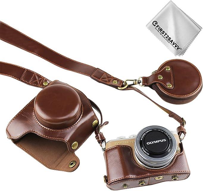 First2savvv Marron Oscuro Funda Cámara Cuero de la PU cámara Digital Bolsa Caso Cubierta con Correa para Olympus Pen E-PL9 con Lente de 14-42 mm F3.5-5.6 XJD-EPL9-HH10G11