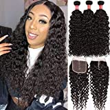 Water Wave Bundles with Closure Human Hair Malaysian Curly Hair Bundles with 4x4 Lace Closure Natural Black Water Wave Bundles with Closure Middle Part (16 18 20+14)