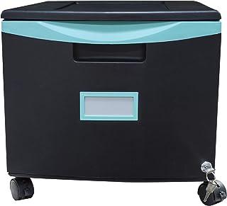 Storex Plastic 1-Drawer Mobile File Cabinet, Letter/Legal, Black/Teal (61270U01C)