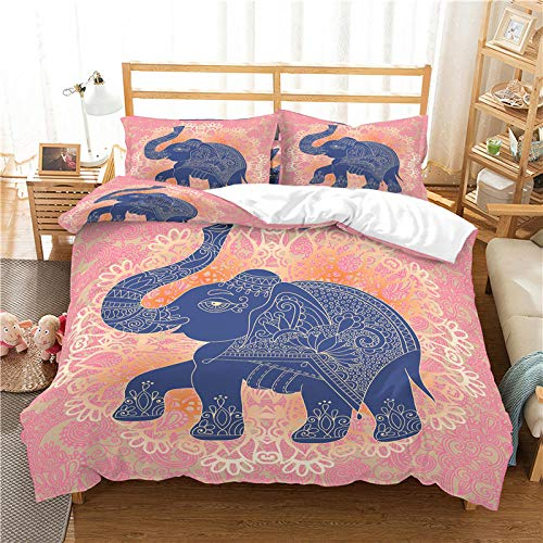 QDoodePoyer Funda Nórdica 240x220cmCama con 1 Funda de Almohada 50x75 cm Funda de Edredón de Microfibra Suave y Transpirable Juego de Cama para niñas Abstracto patrón Animal Elefante