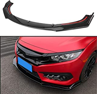 GZYF Glossy Black Auto Front Bumper Lip Spoiler Splitter Air Dam Compatible with HondaCivicSedan 2016-2018