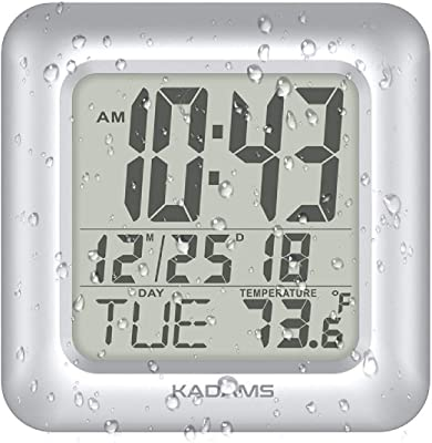 KADAMS Digital Bathroom Shower Clock, Waterproof for Water Spray, Temperature, Seconds Counter, Humidity and Moisture Proof, Month Date Day Display, Suction Cups, Table Stand, Wall Clock - Silver