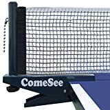 Comesee Professional Ping Pong Net Clip on Easy, Table Tennis Net and Post Set with Spring Activated Clamp,...