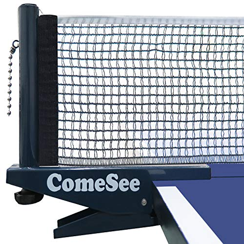 Comesee Professional Ping Pong Net Clip on Easy, Table Tennis Net and Post Set with Spring Activated Clamp, Thick Base Grip, Precision Tension Height Adjustment (Navy)