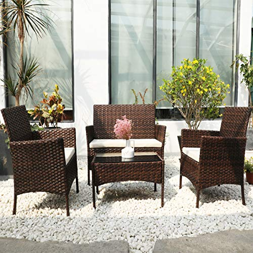 DIMAR GARDEN 4 Pieces Outdoor Patio Furniture Set Rattan Wicker Coffee Table and Chair, Porch Conversation (Mix Brown)