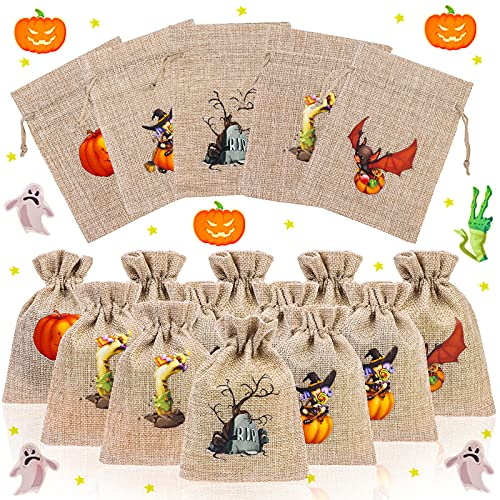 Vanproo 50 Pieces Halloween Burlap Gift Bags, Novelty Goodie Treat Bags with Drawstrings Party Bags for Kids Packing Party Supplies