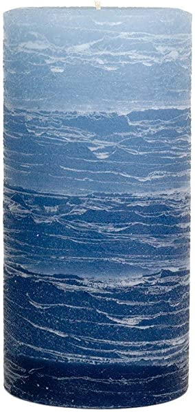 Nordic Candle Layered Pillar Candle 3x6 Inch Blue Layered Unscented