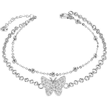 Tobillera de plata de 14 K con diseño de mariposa, ajustable, para mujer, adolescentes y niñas (caja de regalo incluida)