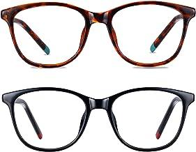2Pack Blue Light Blocking Glasses,Computer Reading/Gaming/TV/Phone Eyeglasses for Women Men,Anti Eyestrain Headache & UV G...